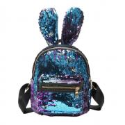 Рюкзак с блестками пайетками ушки зайца (Синий с розовым)