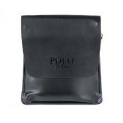 Сумка кожаная размер M мужская для iPad mini или документов Polo (Черный)