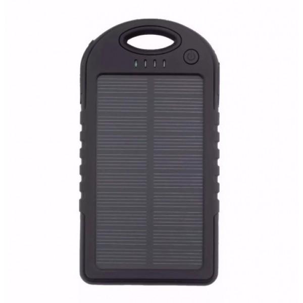 Powerbank со встроенной солнечной батареей Solar Power Bank, объем 5000 mAh (Черный)