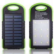 Powerbank со встроенной солнечной батареей Solar Power Bank, объем 12000 mAh фонарь LED (Зеленый)