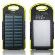 Powerbank со встроенной солнечной батареей Solar Power Bank, объем 12000 mAh фонарь LED (Желтый)