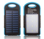 Powerbank со встроенной солнечной батареей Solar Power Bank, объем 12000 mAh фонарь LED (Голубой)