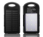 Powerbank со встроенной солнечной батареей Solar Power Bank, объем 12000 mAh фонарь LED (Черный)