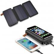 Внешний аккумулятор Power Bank с беспроводной зарядкой Qi, фонарем, 3 солнечные панели 20000mAh (Черный)