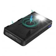 Внешний аккумулятор Power Bank с беспроводной зарядкой Qi, фонарем, солнечными панелями 20000mAh (Черный)