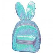 Рюкзак с блестками пайетками ушки зайца (Голубой с перламутром)
