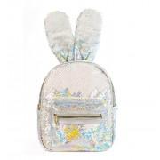 Рюкзак с блестками пайетками ушки зайца (Перламутр с серебром)