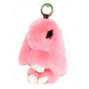 Брелок кролик из меха с ресничками (Нежно-Розовый)