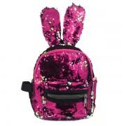 Рюкзак с блестками пайетками ушки зайца (Розовый)