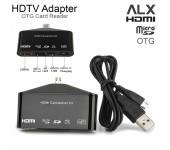 Адаптер HDMI с микро USB OTG SD Card Reader Samsung Xiaomi ALX MHL HDTV 11 pin (Черный)