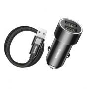 Автомобильное зарядное устройство Baseus Small Screw Dual-USB 3.4A + Type-C Cable TZXLD-B01 (Черный)