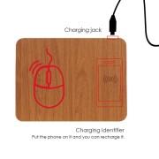 Коврик для мыши с беспроводной зарядкой Qi (Коричневый)