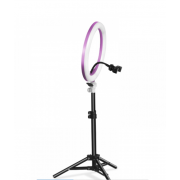 Кольцевая светодиодная лампа освещение для профессиональной съемки, селфи лампа с держателем для смартфона и пультом Ring Light 14 дюймов (Розовый)