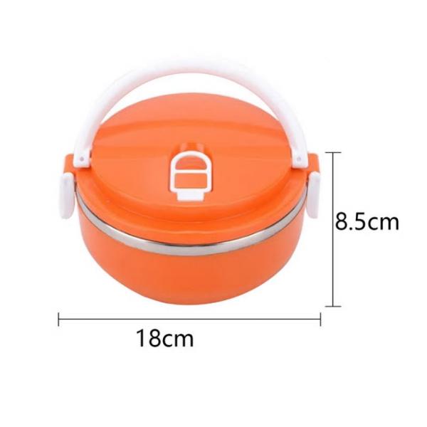 Ланч бокс 1 секция Lunch Box Urban Living 3 Layer Stainless Steel термо контейнер для обедов (Оранжевый)