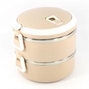 Ланч бокс 2 секции Lunch Box Urban Living 3 Layer Stainless Steel термо контейнер для обедов (Бежевый)