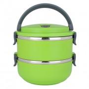 Ланч бокс 2 секции Lunch Box Urban Living 3 Layer Stainless Steel термо контейнер для обедов (Зеленый)