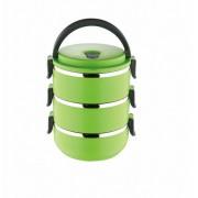 Ланч бокс 3 секции Lunch Box Urban Living 3 Layer Stainless Steel термо контейнер для обедов (Зеленый)