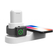 Беспроводная зарядка Wireless Charging Station QI 4 in 1 для iPhone/Apple Watch/Airpods/iPad (Белый)