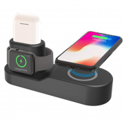 Беспроводная зарядка Wireless Charging Station QI 4 in 1 для iPhone/Apple Watch/Airpods/iPad (Черный)