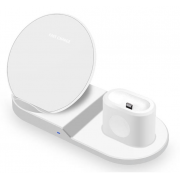 Беспроводная зарядка Qi 3 in 1 для смартфона/apple Watch/AirPods (Белый)