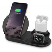 Беспроводная зарядка Qi 3 in 1 для смартфона/apple Watch/Airpods (Черный)
