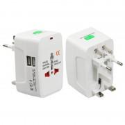 Переходник универсальный адаптер розетки 220В с вилки EU/UK/US в RU на EU вилку 2 USB (Белый)