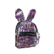 Рюкзак с блестками пайетками ушки зайца (Серебро с розовым)