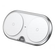 Беспроводное зарядное устройство Baseus Dual Qi Wireless Charger WXXHJ-A0S на два устройства (Серебро)