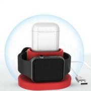 Беспроводная зарядка QI 2 in 1 для Apple Watch и AirPods (Красный)