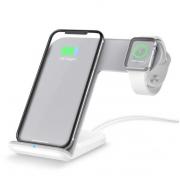 Беспроводная зарядка Charging Station QI 2 in 1 для iPhone / Apple Watch (Белый)