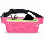 Сумка чехол на пояс для смартфона плотный материал для спорта (Розовый)