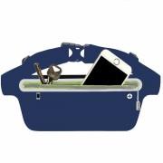 Сумка чехол на пояс для смартфона плотный материал для спорта (Синий)