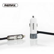 Автомобильное зарядное устройство Remax Single USB Car Charger With 2 in 1 Cable Fast 8 RCC102 (Серебро)