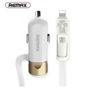 Автомобильное зарядное устройство Remax Single USB Car Charger With 2 in 1 Cable Fast 8 RCC102 (Золотой)
