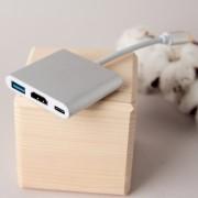 Переходник Type-C HUB USB3.0 - HDMI - Type-C (Серебристый)