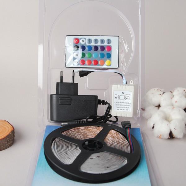 Светодиодная лента LED SMD 3528 5m с блоком питания и пультом RGB (Цветная)