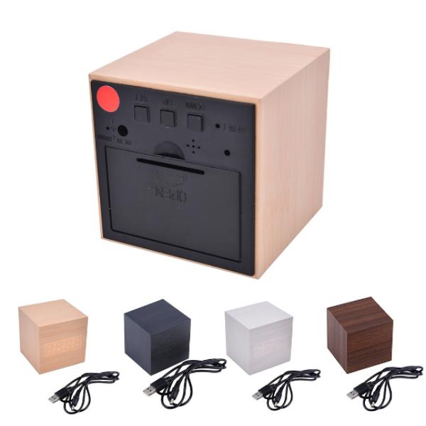 Электронные часы деревянный куб с звуковым управлением VST-869 (Бежевый)
