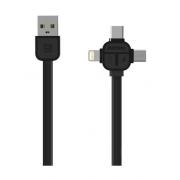 Дата-кабель Remax Lesu RC-066TH 3 в 1 с разъемами micro usb и type-c и Lightning (Черный)