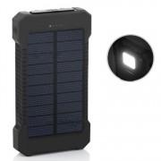 Внешний аккумулятор Power Bank с солнечной батареей Solar F5 с фонарем 12000 mAh (Черный)