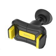 Автодержатель для смартфона Hoco CA43 Travel spirit push-type dashboard in-car holder (Черный с желтым)