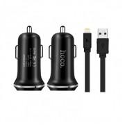 Автомобильная зарядка с кабелем USB-Lightning Hoco Z1 Car Charger Set (Черный)