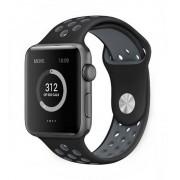 Ремешок спортивный для часов Apple Watch silicone WB01 38 (Черно-серый)