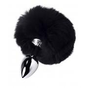 Серебристая анальная втулка TOYFA Metal с черным хвостиком, черный