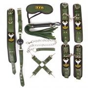 Набор в армейской тематике: наручники, оковы, ошейник с поводком, кляп, маска, плеть, фиксатор, хаки
