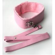 Розовый ошейник с поводком на карабине, розовый