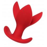 Красная силиконовая расширяющая анальная пробка Flower - 9 см., красный