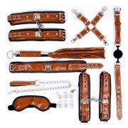 Стильный большой набор БДСМ: маска, ошейник, кляп, фиксатор, наручники, оковы, плеть, коричневый