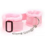 Розовые меховые наручники на регулируемых черных пряжках, розовый