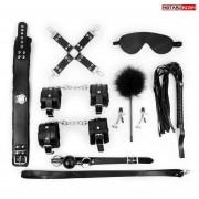 Большой набор БДСМ в черном цвете: маска, кляп, зажимы, плётка, ошейник, наручники, оковы, щекоталка, фиксатор, черный
