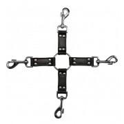 Черный крестообразный фиксатор 4-way Leather Hogtie Cross Hogtie, черный